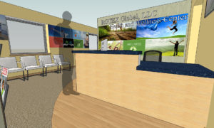 32 rendering of Rotex front desk area