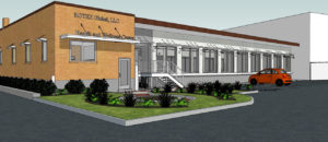 3D rendering of outside of Rotex building