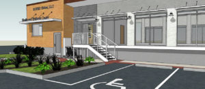 3D rendering of outside of Rotex Wellness Center